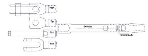 Swageless Compression Terminal Extenders Technical Drawing