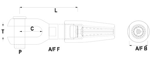 Swageless Compression Terminal - Fork End Technical Drawing