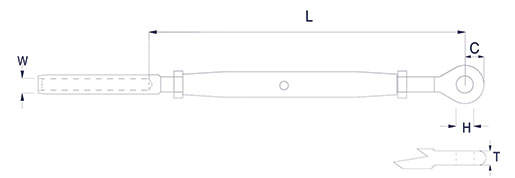 Closed Body Rigging Screw with Stud & Eye Technical Drawing