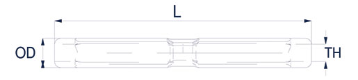 Turnbuckle Bodies - Open & Closed Design Technical Drawing